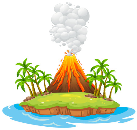 Illustration for Volcano on an island with smoke - Royalty Free Image
