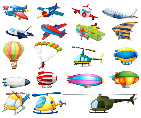 Ilustración de Different modes of air transportation - Imagen libre de derechos