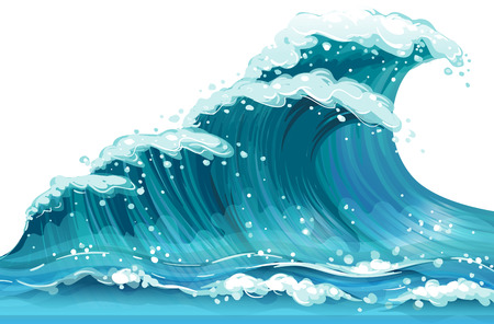 Illustration pour Illustration of a huge ocean wave - image libre de droit