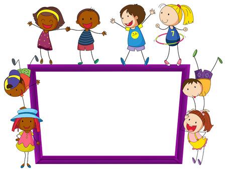 Ilustración de Illustration of kids playing around a frame - Imagen libre de derechos