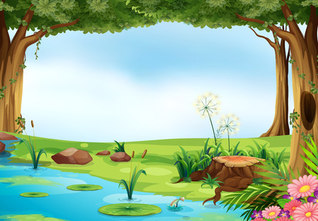 Illustration pour Illustration of an outdoor scene of a pond - image libre de droit