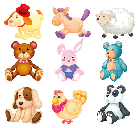 Illustration pour Illustration of many stuffed animals - image libre de droit