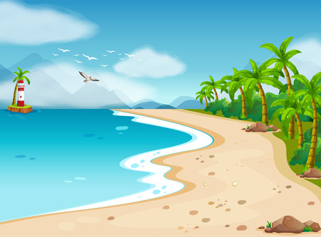 Illustration for Illustration of an ocean view during the day - Royalty Free Image