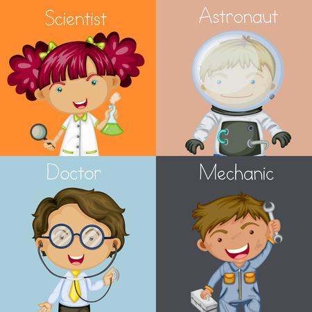 Ilustración de Illustration of different occupations - Imagen libre de derechos