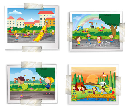 Illustration for Illustration of four photos of childhood memory - Royalty Free Image
