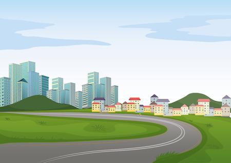 Illustration pour Illustration of a road to the city - image libre de droit