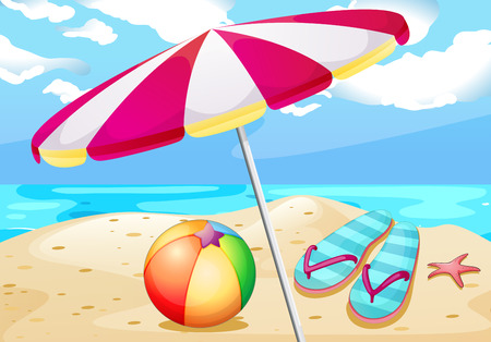Illustration pour Illustration of beach view with umbrealla and beachball - image libre de droit