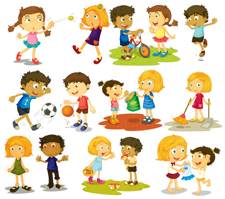 Illustration pour Illustration of children doing different sports and activities - image libre de droit
