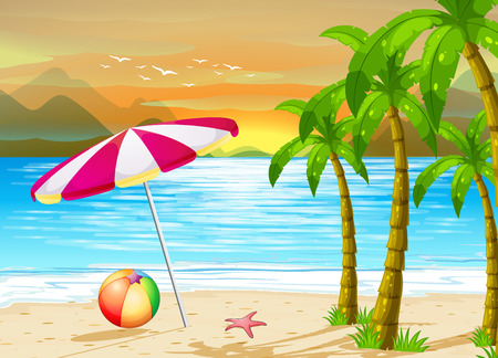 Illustration for Illustration of an umbrella on the beach - Royalty Free Image