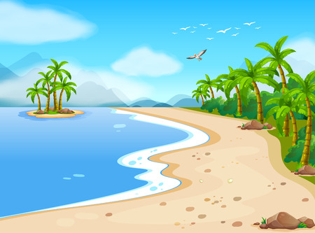 Illustration for Illustration of a beautiful beach during the summer - Royalty Free Image