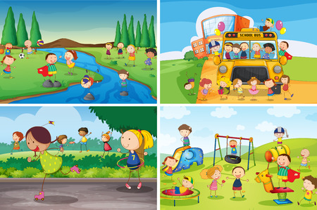 Illustration for Illustration of many children playing in the park - Royalty Free Image