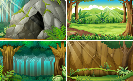 Illustration pour Illustration of four scenes of forests and a cave - image libre de droit