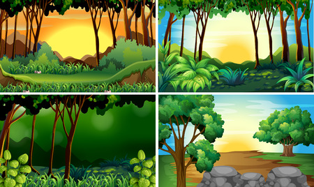 Illustration pour Illustration of four different scene of forests - image libre de droit