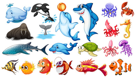 Ilustración de Illustration of different kind of sea animals - Imagen libre de derechos