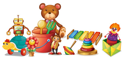 Illustration pour Illustration of a lot of toys on the floor - image libre de droit