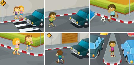 Illustration pour six scenes of do and don't on the road - image libre de droit