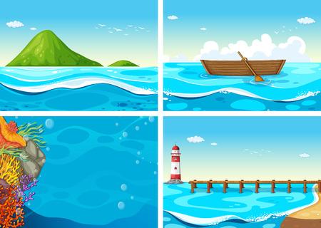 four scenes of the ocean