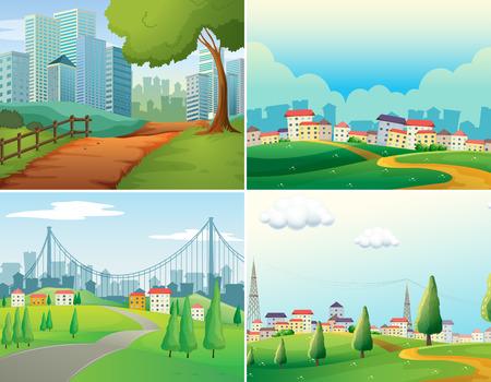 Illustration pour scenes of cities and parks - image libre de droit