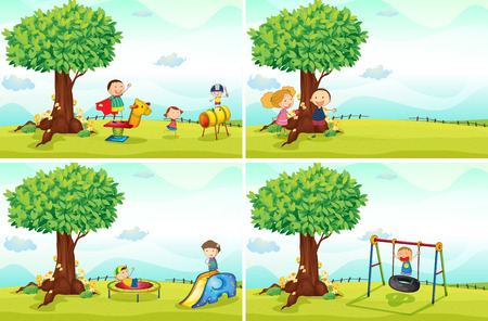 Illustration for children playing in the park - Royalty Free Image