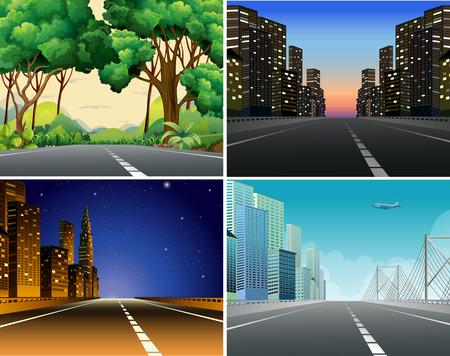 Illustration pour Four scenes of roads - image libre de droit