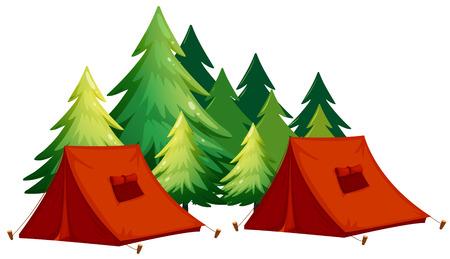 Illustration pour Tents and pine tree - image libre de droit