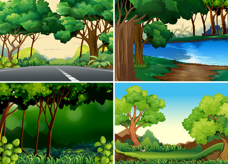 Illustration for Four scenes of forest and river - Royalty Free Image