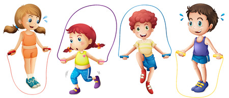 Illustration for Boys and girls jumping on ropes - Royalty Free Image