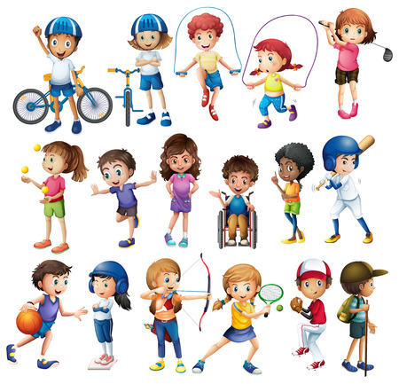 Ilustración de Boys and girls doing different sports - Imagen libre de derechos