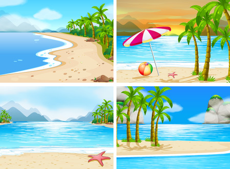 Illustration for four scenes of beaches - Royalty Free Image