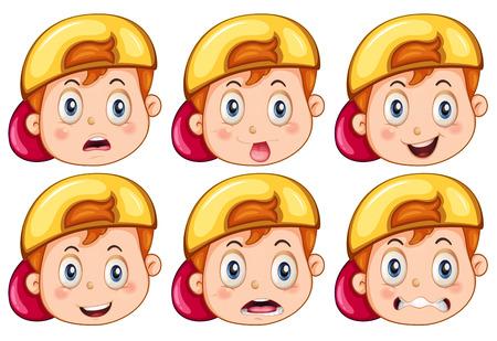 Illustrazione per Boy with facial expressions - Immagini Royalty Free