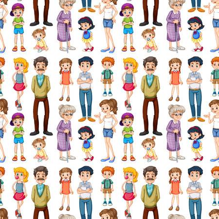 Illustration pour Seamless family members in different ages - image libre de droit