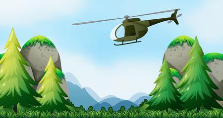 Illustration pour Helicopter flying over the national park - image libre de droit
