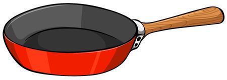 Ilustración de Close up frying pan with wooden handle - Imagen libre de derechos