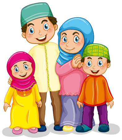 Ilustración de Happy muslim family in traditional costume - Imagen libre de derechos
