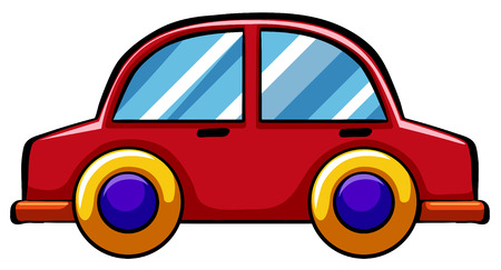 Illustration pour Red toy car with yellow wheels - image libre de droit