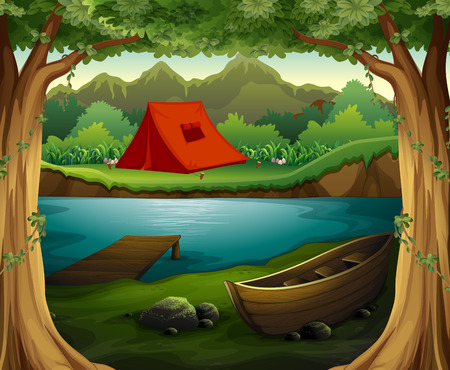 Illustration pour Scene of camping ground in the deep forest - image libre de droit