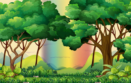 Illustration pour Forest scene with rainbow background - image libre de droit