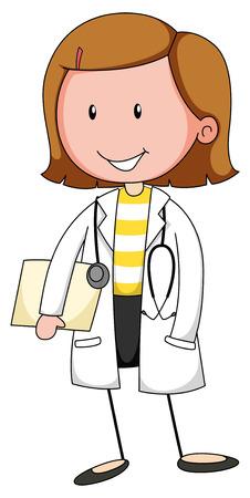 Illustrazione per Female doctor in uniform with stethoscope - Immagini Royalty Free