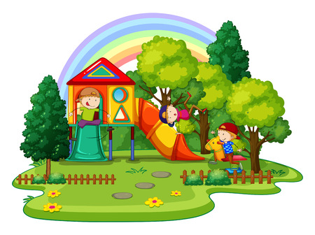 Illustration for Children playing in the playground outside - Royalty Free Image