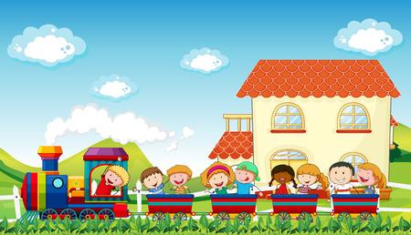 Ilustración de Happy children riding on a train along the field - Imagen libre de derechos