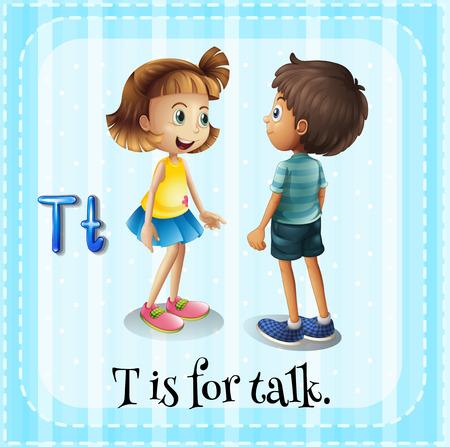 Illustration pour Flashcard letter T is for talking - image libre de droit
