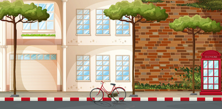 Illustration pour Scene of buildings along the street - image libre de droit
