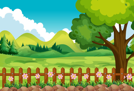 Ilustración de Scene of the garden with field and flowers - Imagen libre de derechos
