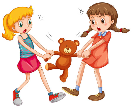 Illustration pour Two girls fighting for a teddy bear - image libre de droit