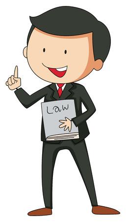 Illustration pour Lawyer in suit holding a law book - image libre de droit