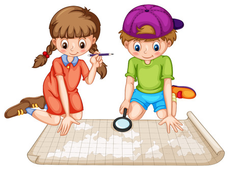 Illustration for Boy and girl looking at world atlas - Royalty Free Image