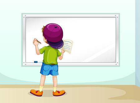 Illustration pour Boy writing on whiteboard inside the room - image libre de droit