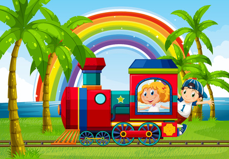 Illustration for Boy and girl riding on a train with rainbow background - Royalty Free Image