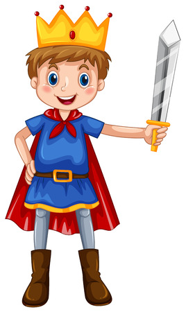 Illustration for Boy in prince costume holding a sword - Royalty Free Image