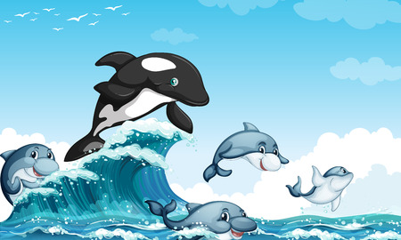 Illustration pour Dolphines swimming in the ocean illustration - image libre de droit